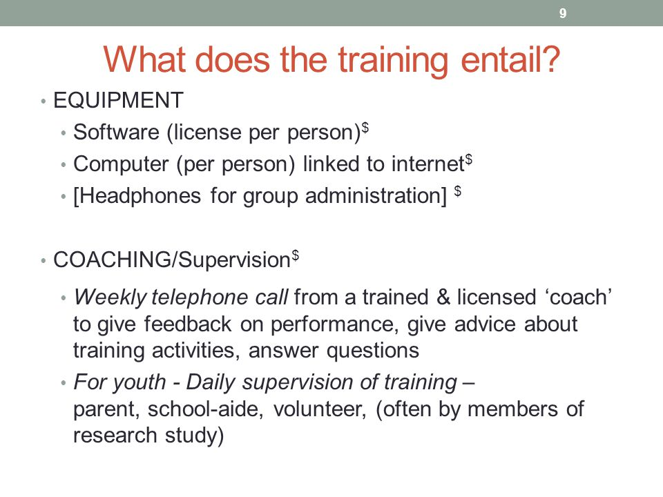 What does the training entail.