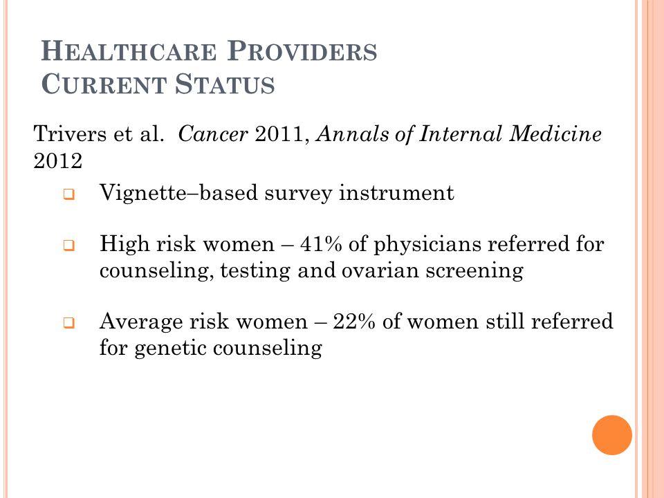 H EALTHCARE P ROVIDERS C URRENT S TATUS Trivers et al. Cancer 2011, Annals of Internal Medicine 2012  Vignette  based survey instrument  High risk