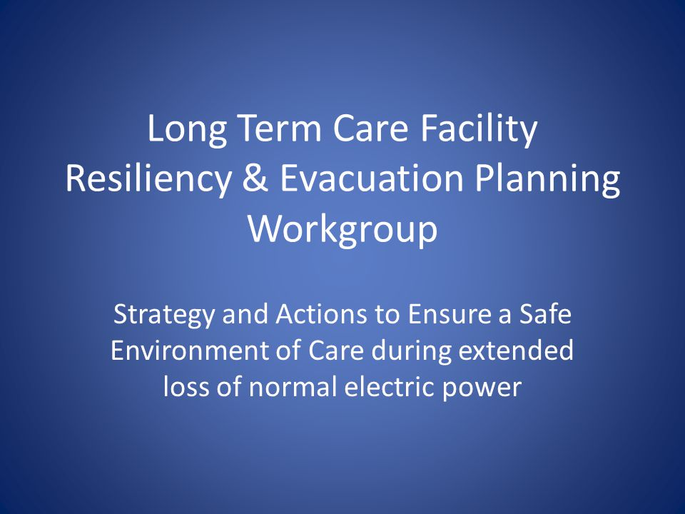 Background A proposed tasking by GA to VDH and DSS- in response to effects of power loss after Derecho event last year VDH/DSS moved ahead and convened group to develop recommendations for improvement Work group members include VHCA, VANHA, SFMO, DARS, VALA, VPLC, jurisdiction EM, VDH, DSS and healthcare coalition EM