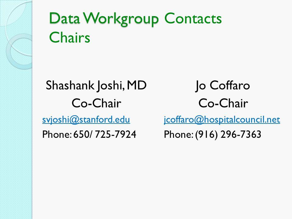 Data Workgroup Data Workgroup Contacts Chairs Shashank Joshi, MD Co-Chair svjoshi@stanford.edu Phone: 650/ 725-7924 Jo Coffaro Co-Chair jcoffaro@hospi