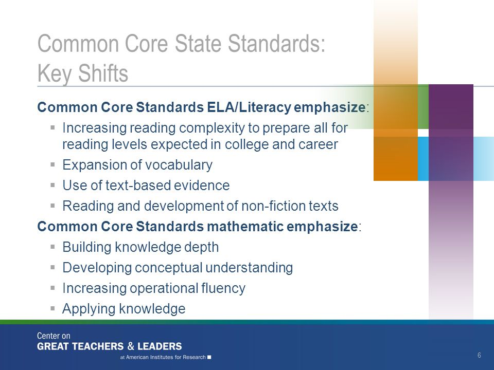 17 Common Core State Standards: Implications for Principal Learning Build leadership content knowledge, which is content, pedagogy, and instructional leadership knowledge How do students learn and how is learning assessed.