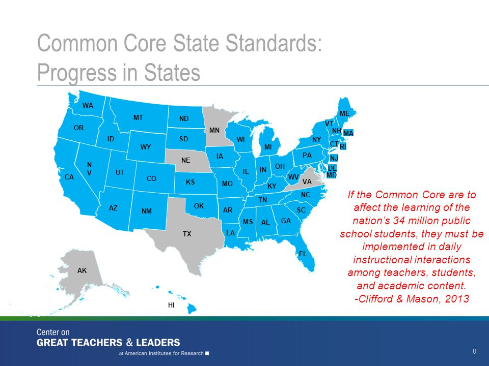 Common Core State Standards: Progress in States 8 AK MT WY ID WA OR NVNV UT CA AZ ND SD NE CO NM TX OK KS AR LA MO IA MN WI IL IN KY TN MS AL GA FL SC