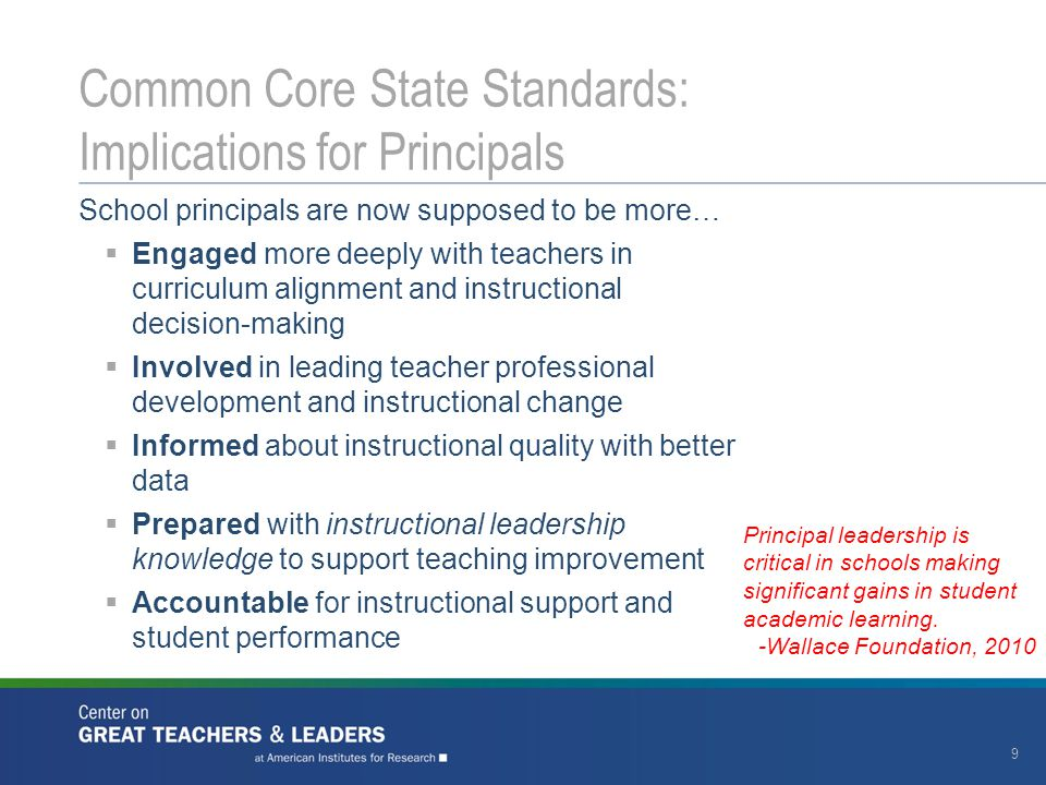 20 Common Core State Standards: What State and District Leaders Could Do Develop and support principal professional development activities and networks Engage principals in determining how and when changes occur Provide principals time, through job assignment flexibility or staffing assignments, to lead instruction Consider principal performance evaluation system changes Join CCSSO and Center for Great Teachers and Leaders in discussions with states Work in partnership with principal preparation programs and districts to prepare, recruit and hire the next generation of leaders