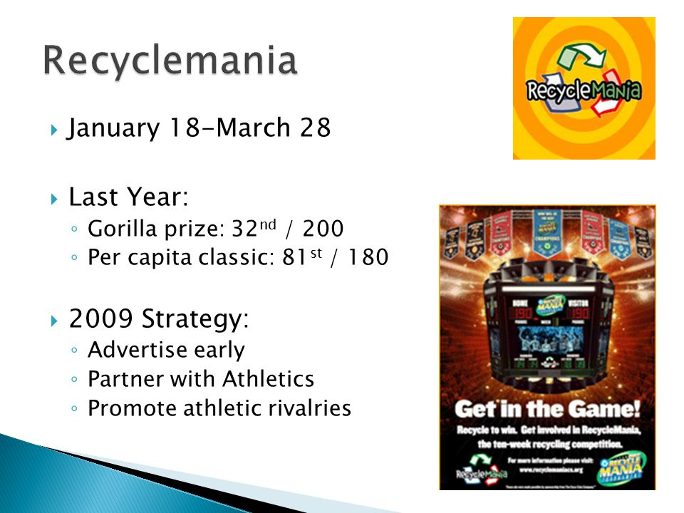  January 18-March 28  Last Year: ◦ Gorilla prize: 32 nd / 200 ◦ Per capita classic: 81 st / 180  2009 Strategy: ◦ Advertise early ◦ Partner with Athletics ◦ Promote athletic rivalries