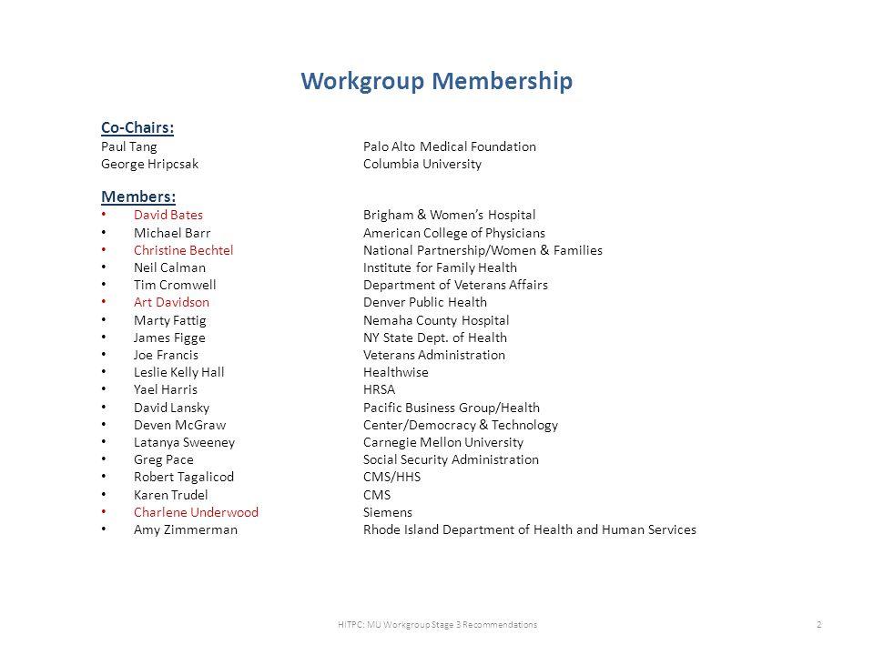 Workgroup Membership Co-Chairs: Paul TangPalo Alto Medical Foundation George Hripcsak Columbia University Members: David BatesBrigham & Women's Hospit