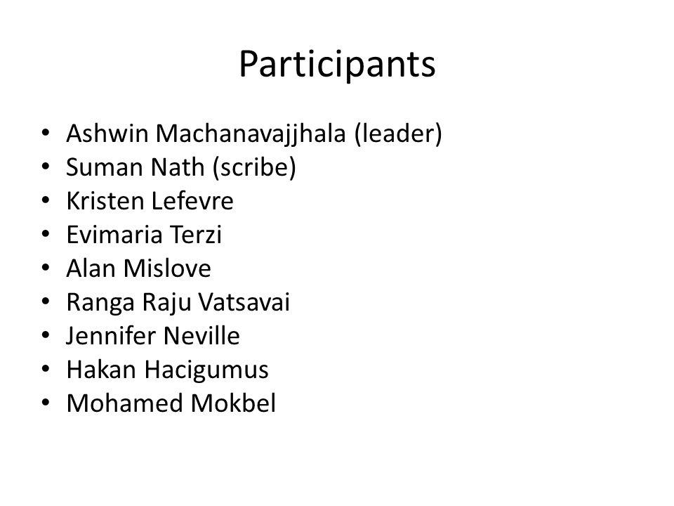 Participants Ashwin Machanavajjhala (leader) Suman Nath (scribe) Kristen Lefevre Evimaria Terzi Alan Mislove Ranga Raju Vatsavai Jennifer Neville Haka