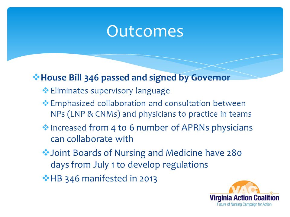  House Bill 346 passed and signed by Governor  Eliminates supervisory language  Emphasized collaboration and consultation between NPs (LNP & CNMs) and physicians to practice in teams  Increased from 4 to 6 number of APRNs physicians can collaborate with  Joint Boards of Nursing and Medicine have 280 days from July 1 to develop regulations  HB 346 manifested in 2013 Outcomes
