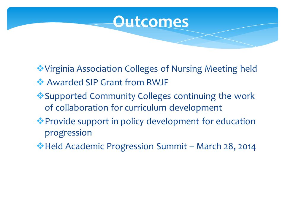  Virginia Association Colleges of Nursing Meeting held  Awarded SIP Grant from RWJF  Supported Community Colleges continuing the work of collaboration for curriculum development  Provide support in policy development for education progression  Held Academic Progression Summit – March 28, 2014 Outcomes