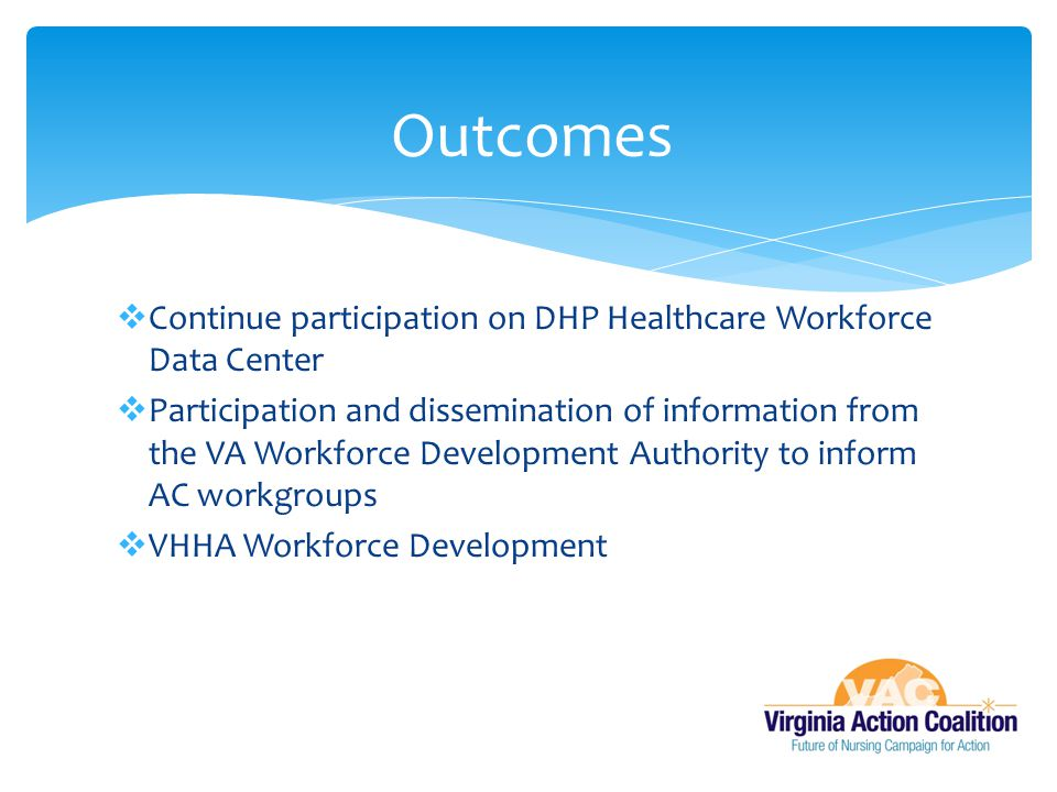  Continue participation on DHP Healthcare Workforce Data Center  Participation and dissemination of information from the VA Workforce Development Authority to inform AC workgroups  VHHA Workforce Development Outcomes
