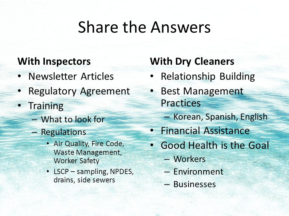 IRAC Dry Cleaning Workgroup www.lhwmp.org/irac debra.oliver@kingcounty.gov 206-263-3079 www.lhwmp.org/irac debra.oliver@kingcounty.gov