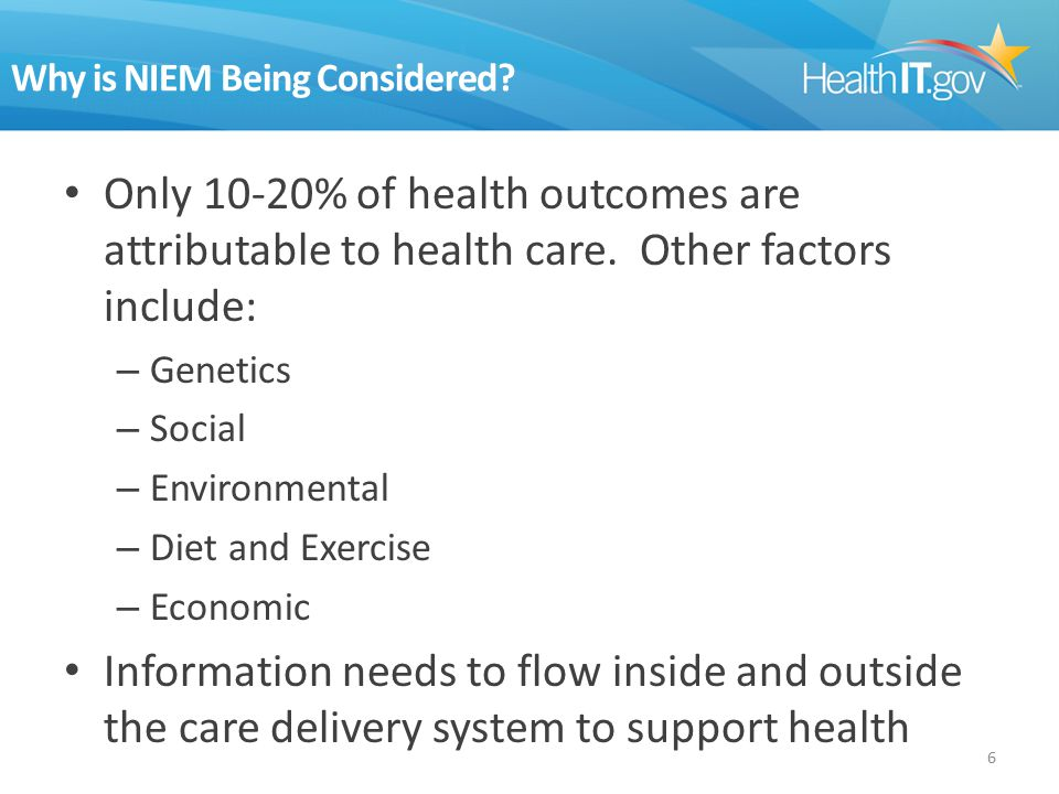 Why is NIEM Being Considered. Only 10-20% of health outcomes are attributable to health care.