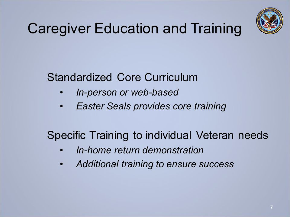 Caregiver Education and Training Standardized Core Curriculum In-person or web-based Easter Seals provides core training Specific Training to individu