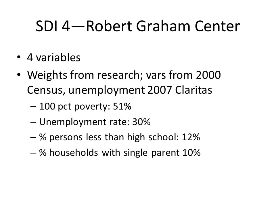 SDI 4—Robert Graham Center 4 variables Weights from research; vars from 2000 Census, unemployment 2007 Claritas – 100 pct poverty: 51% – Unemployment rate: 30% – % persons less than high school: 12% – % households with single parent 10%