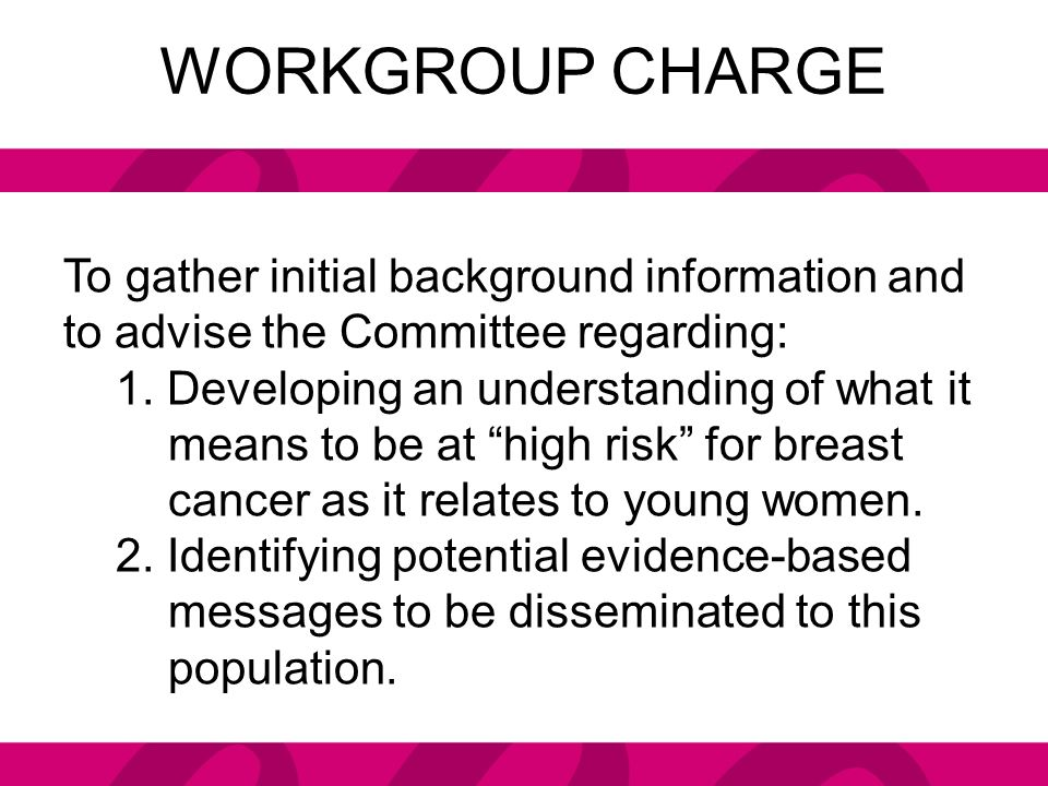 ACTIONS TO DATE 2010 – 2012 – Delineated Workgroup charge; began research on breast cancer risk in young women related to charge.