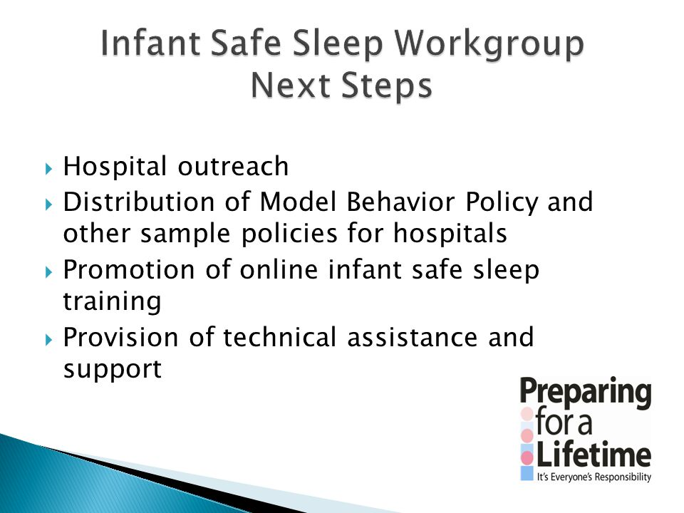  Hospital outreach  Distribution of Model Behavior Policy and other sample policies for hospitals  Promotion of online infant safe sleep training 