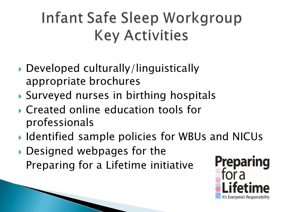  Developed culturally/linguistically appropriate brochures  Surveyed nurses in birthing hospitals  Created online education tools for professionals