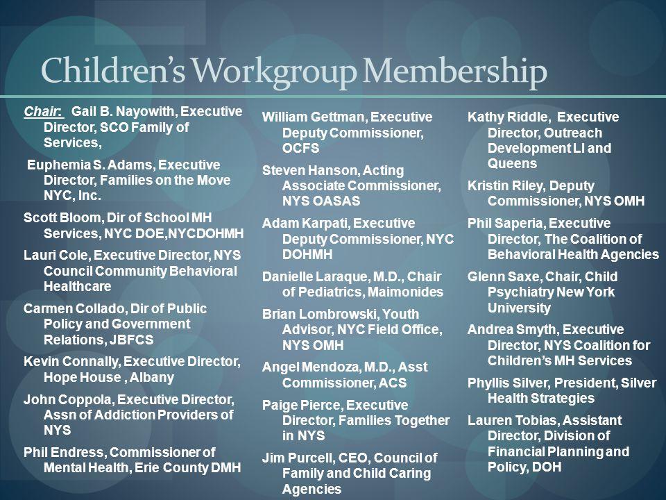 Children's Workgroup Membership Chair: Gail B.