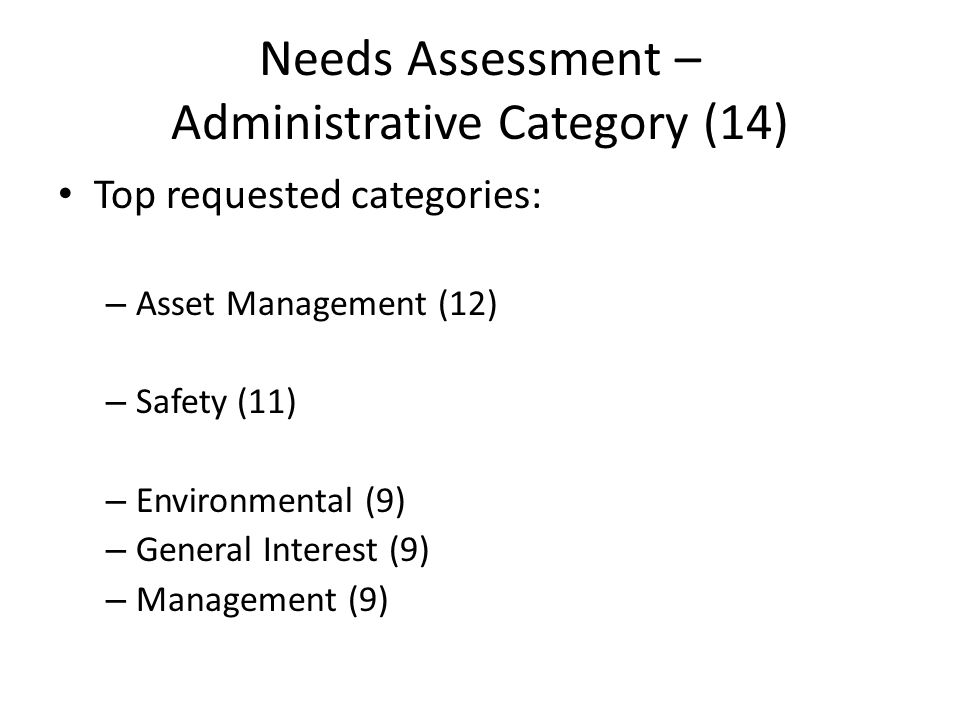 Needs Assessment – Administrative Category (14) Top requested categories: – Asset Management (12) – Safety (11) – Environmental (9) – General Interest (9) – Management (9)