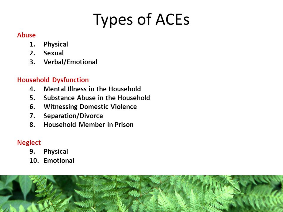 Types of ACEs Abuse 1.Physical 2.Sexual 3.Verbal/Emotional Household Dysfunction 4.Mental Illness in the Household 5.Substance Abuse in the Household