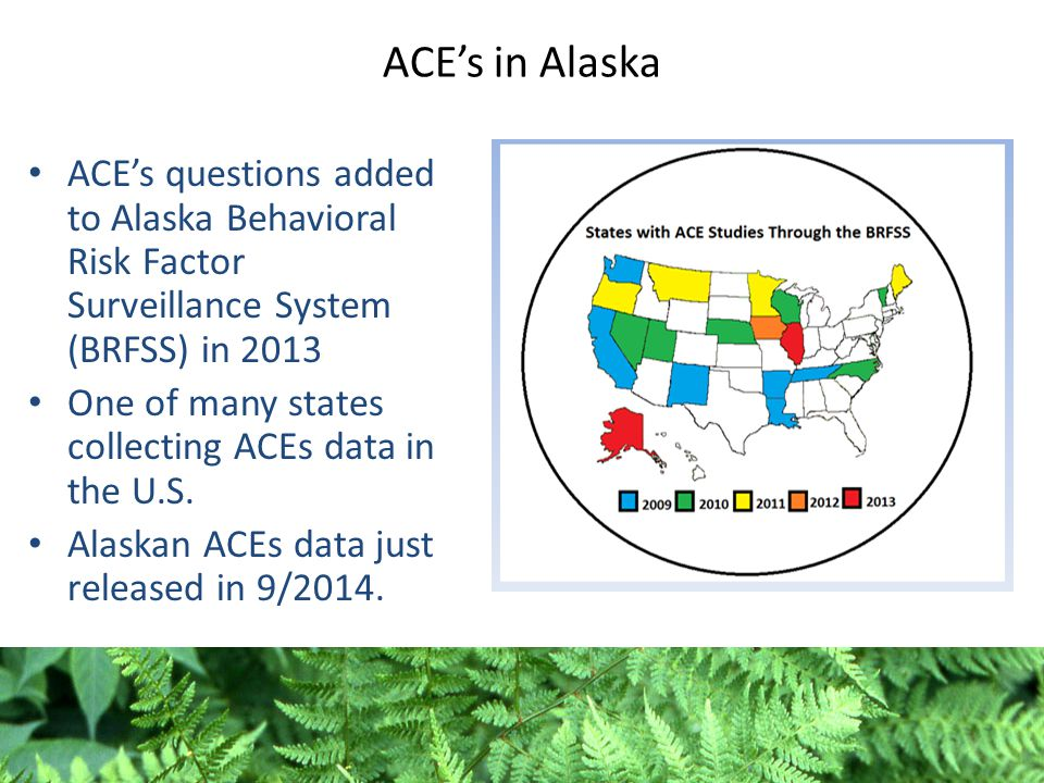 ACE's in Alaska ACE's questions added to Alaska Behavioral Risk Factor Surveillance System (BRFSS) in 2013 One of many states collecting ACEs data in