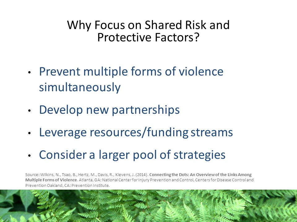 Why Focus on Shared Risk and Protective Factors.