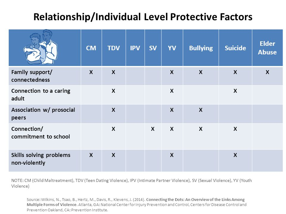 Relationship/Individual Level Protective Factors CMTDVIPVSVYVBullyingSuicide Elder Abuse Family support/ connectedness XXXXXX Connection to a caring adult XXX Association w/ prosocial peers XXX Connection/ commitment to school XXXXX Skills solving problems non-violently XXXX Source: Wilkins, N., Tsao, B., Hertz, M., Davis, R., Klevens, J.