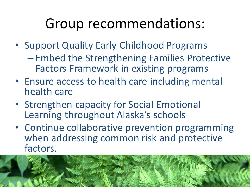 Group recommendations: Support Quality Early Childhood Programs – Embed the Strengthening Families Protective Factors Framework in existing programs E
