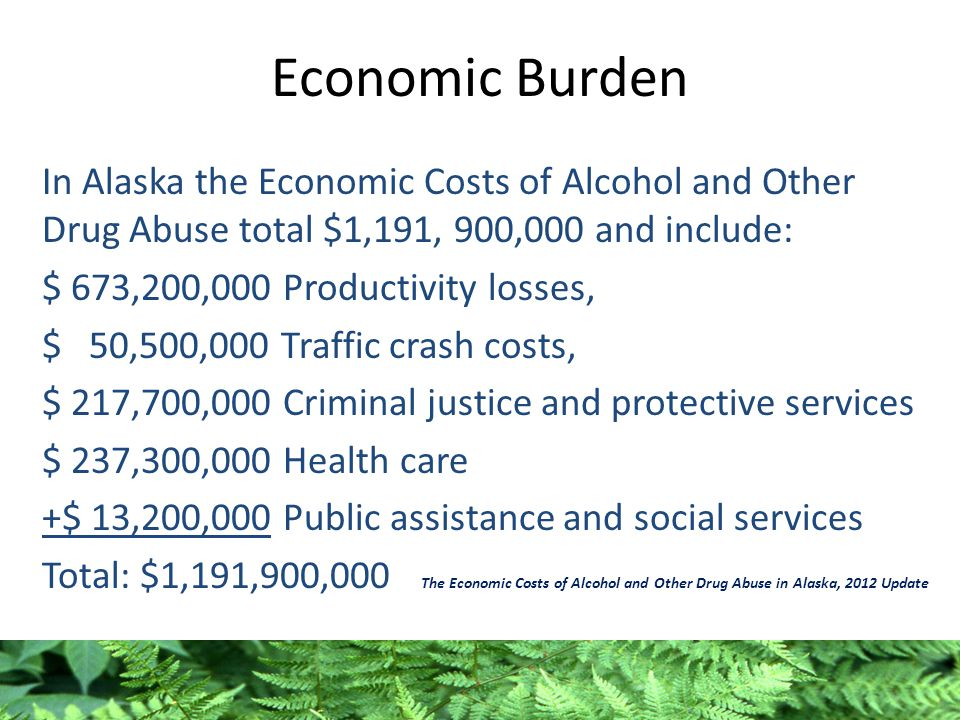 Economic Burden In Alaska the Economic Costs of Alcohol and Other Drug Abuse total $1,191, 900,000 and include: $ 673,200,000 Productivity losses, $ 50,500,000 Traffic crash costs, $ 217,700,000 Criminal justice and protective services $ 237,300,000 Health care +$ 13,200,000 Public assistance and social services Total: $1,191,900,000 The Economic Costs of Alcohol and Other Drug Abuse in Alaska, 2012 Update