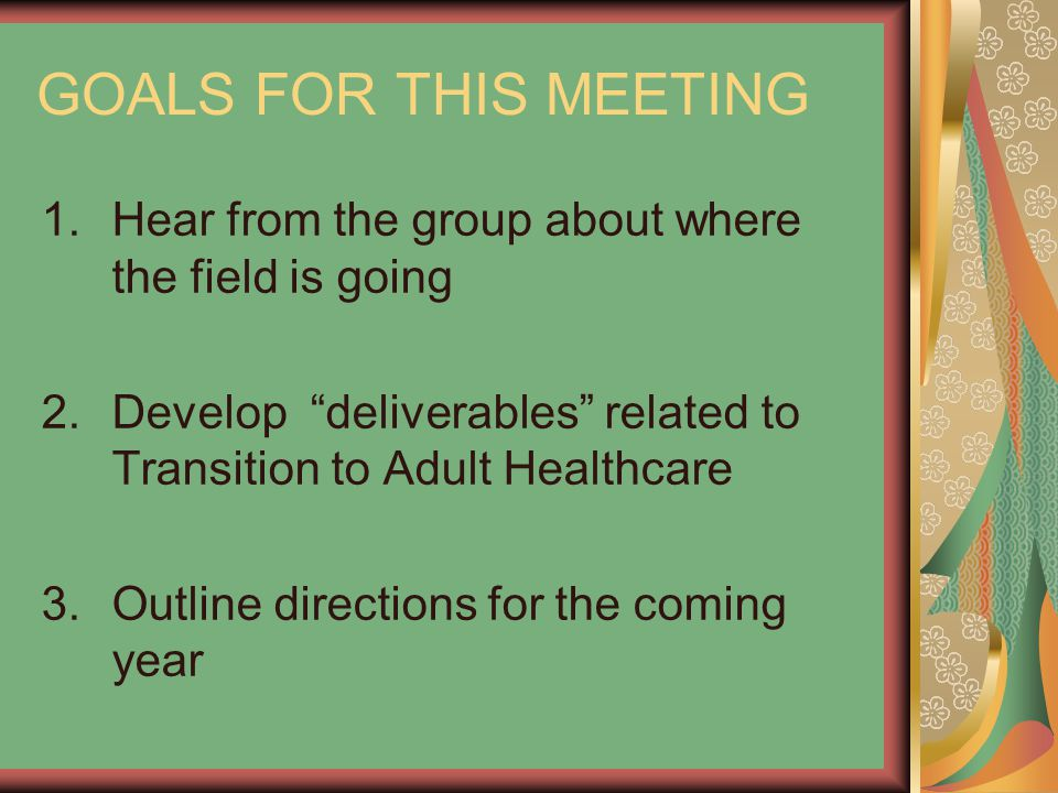 GOALS FOR THIS MEETING 1.Hear from the group about where the field is going 2.Develop deliverables related to Transition to Adult Healthcare 3.Outline directions for the coming year