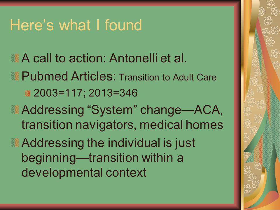 Here's what I found A call to action: Antonelli et al.
