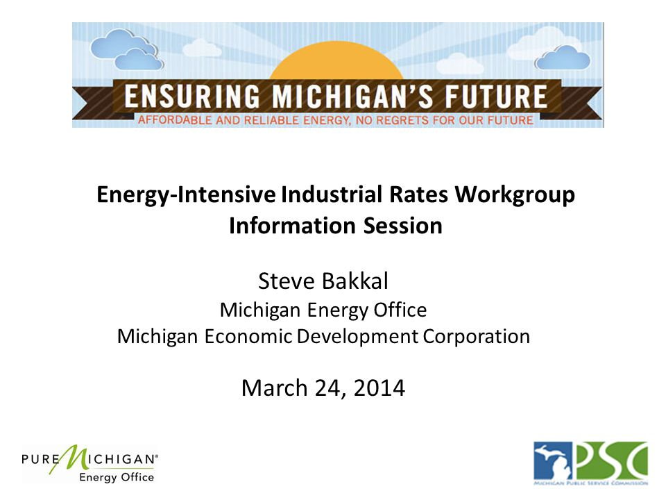 Energy-Intensive Industrial Rates Workgroup Information Session Steve Bakkal Michigan Energy Office Michigan Economic Development Corporation March 24, 2014
