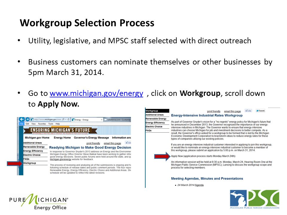 Workgroup Selection Process Utility, legislative, and MPSC staff selected with direct outreach Business customers can nominate themselves or other businesses by 5pm March 31, 2014.