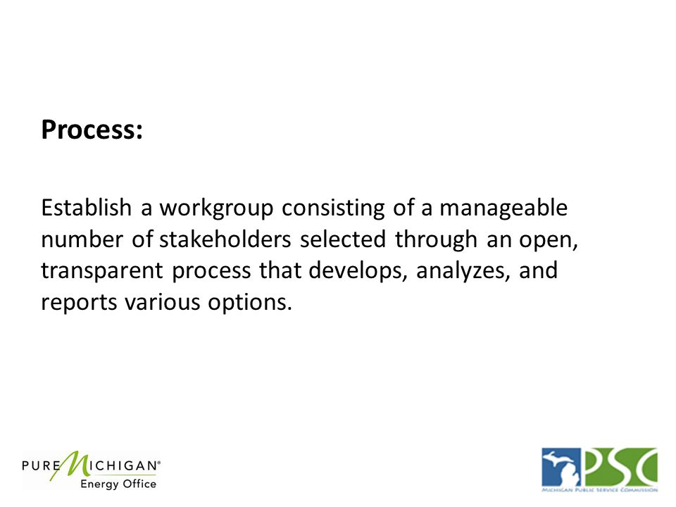 Process: Establish a workgroup consisting of a manageable number of stakeholders selected through an open, transparent process that develops, analyzes, and reports various options.