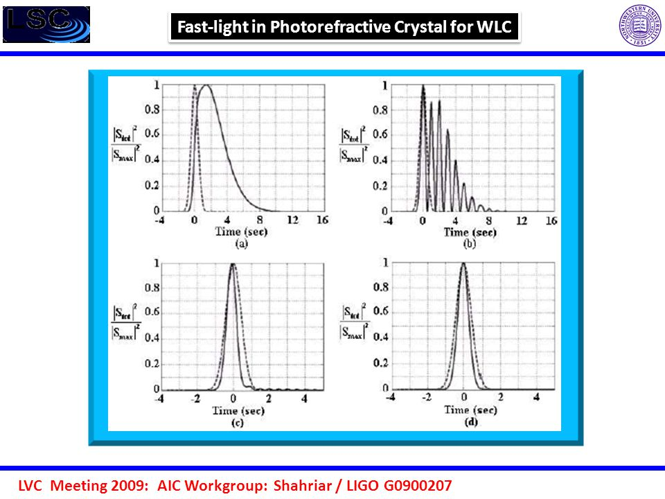 LVC Meeting 2009: AIC Workgroup: Shahriar / LIGO G0900207 Fast-light in Photorefractive Crystal for WLC