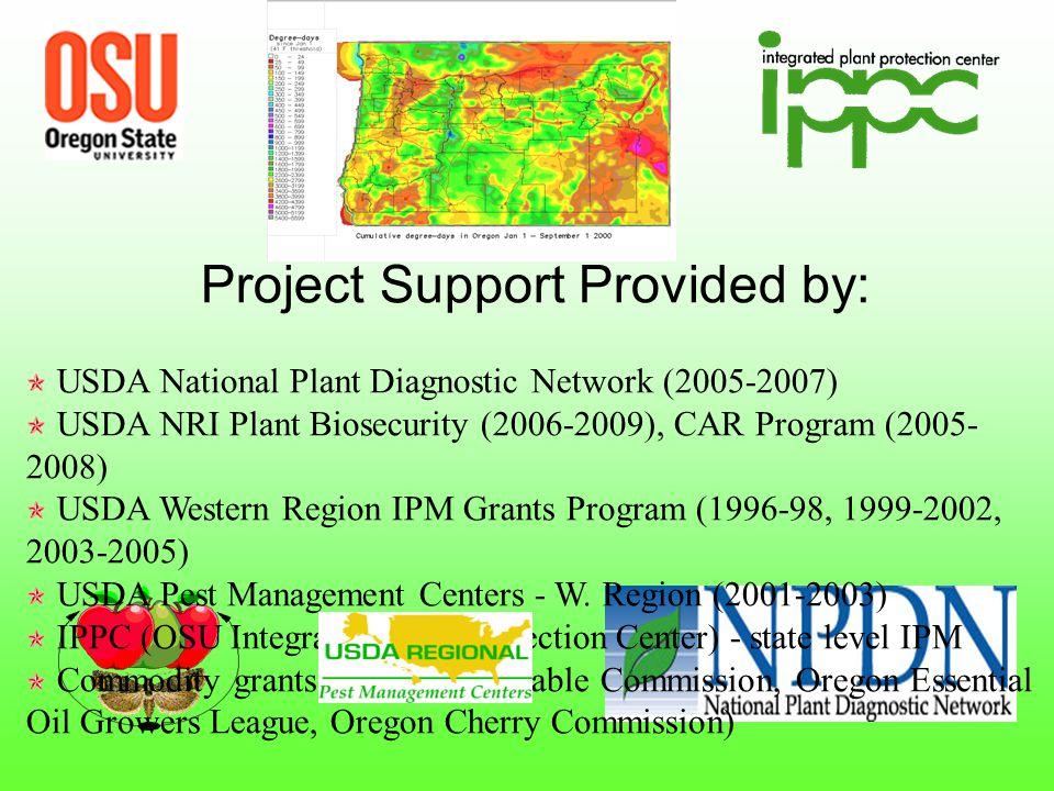Project Support Provided by: USDA National Plant Diagnostic Network (2005-2007) USDA NRI Plant Biosecurity (2006-2009), CAR Program (2005- 2008) USDA Western Region IPM Grants Program (1996-98, 1999-2002, 2003-2005) USDA Pest Management Centers - W.