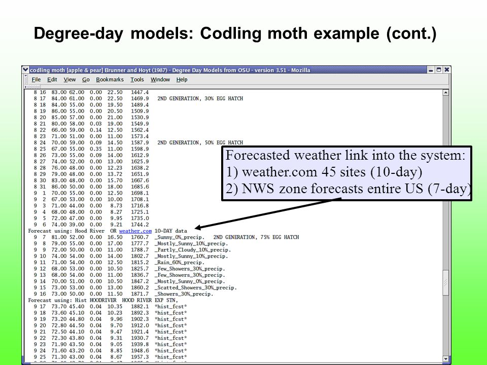 Forecasted weather link into the system: 1) weather.com 45 sites (10-day) 2) NWS zone forecasts entire US (7-day) Degree-day models: Codling moth example (cont.)