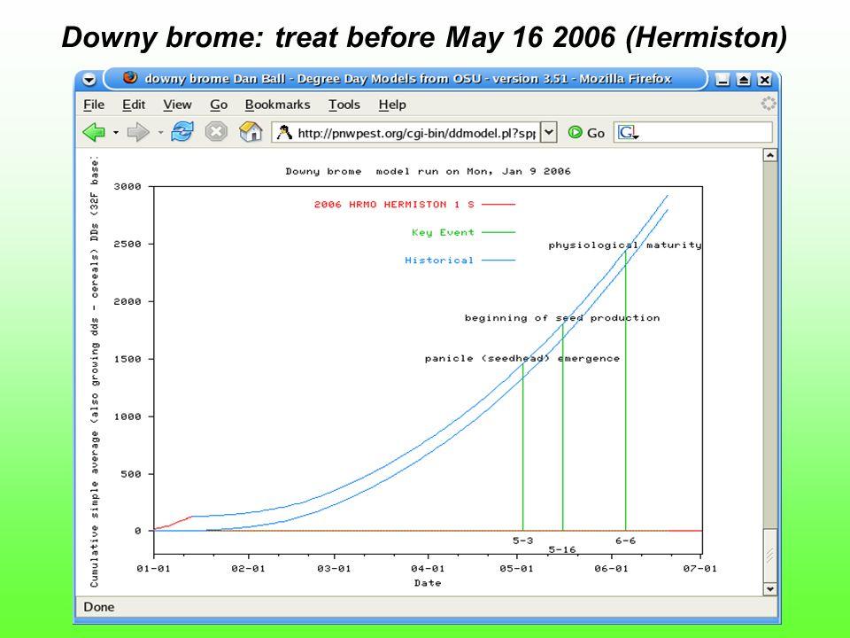 Downy brome: treat before May 16 2006 (Hermiston)