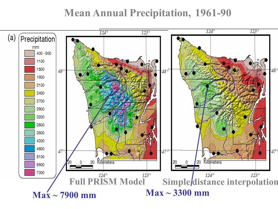 Oregon Annual Precipitation Mean Annual Precipitation, 1961-90 Full PRISM Model Max ~ 3300 mm Simple distance interpolation Max ~ 7900 mm