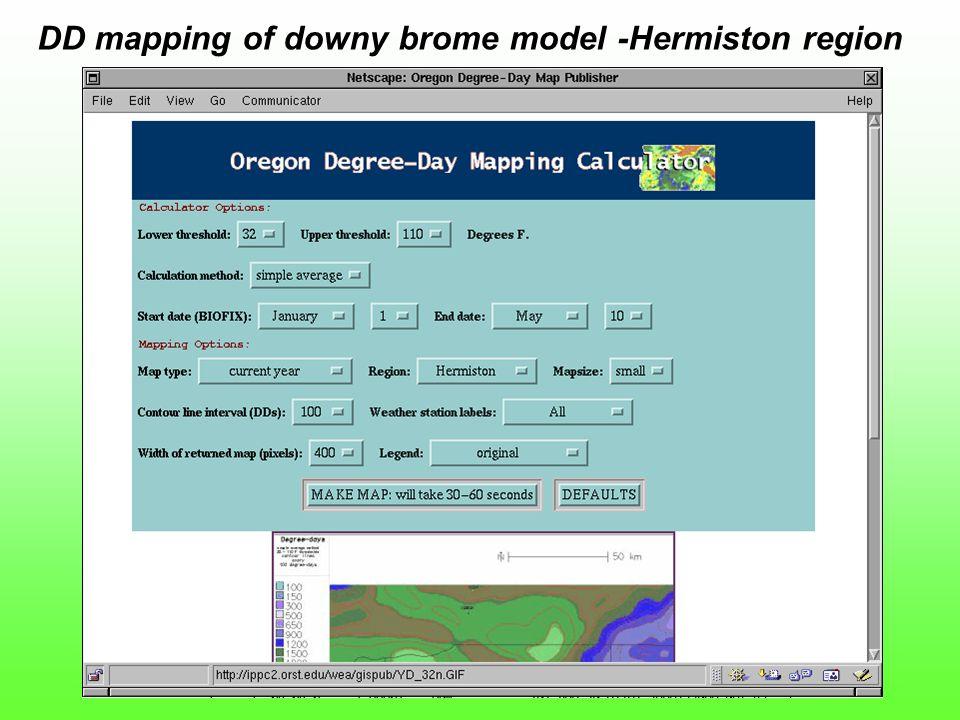 DD mapping of downy brome model -Hermiston region