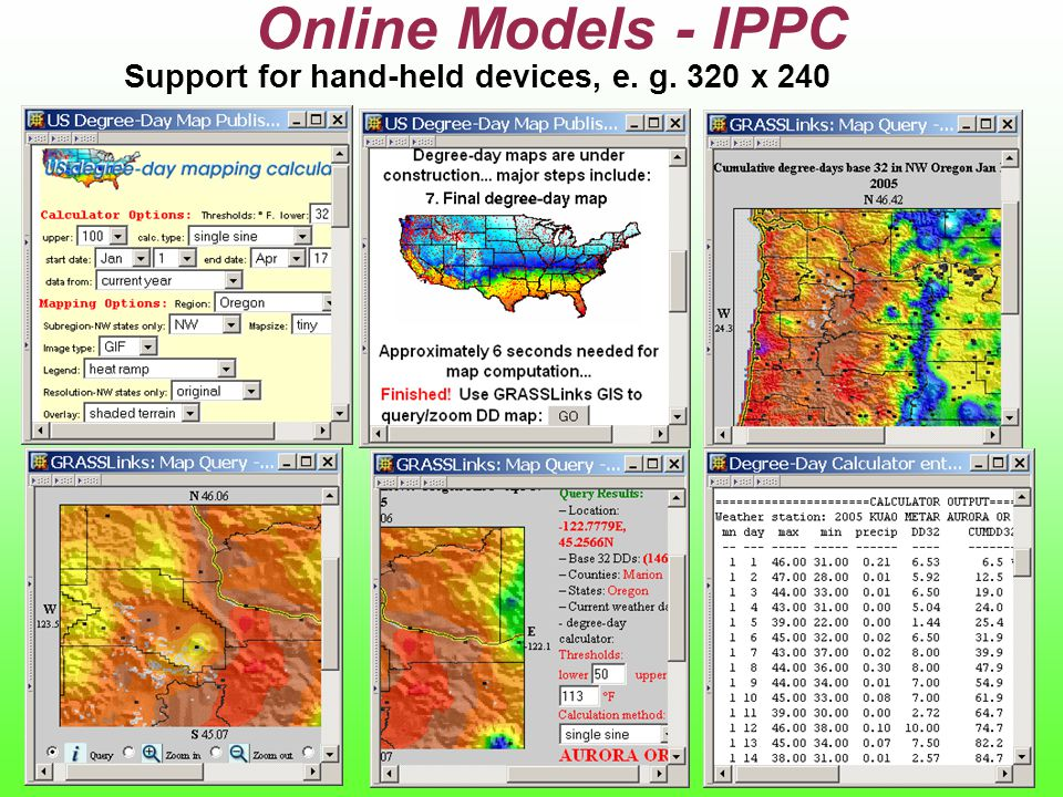 Support for hand-held devices, e. g. 320 x 240 Online Models - IPPC