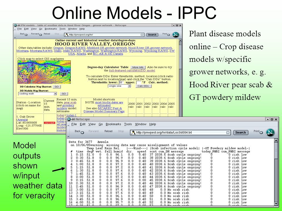 Online Models - IPPC Plant disease models online – Crop disease models w/specific grower networks, e.