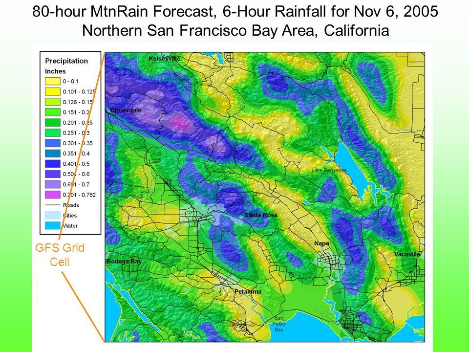 80-hour MtnRain Forecast, 6-Hour Rainfall for Nov 6, 2005 Northern San Francisco Bay Area, California GFS Grid Cell
