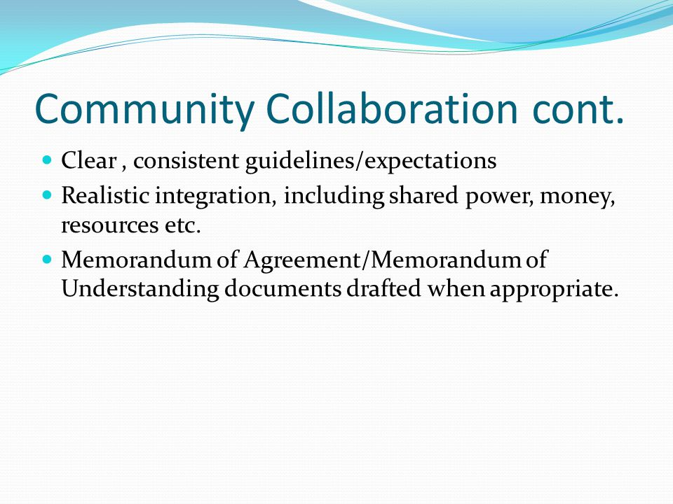 Community Collaboration cont.