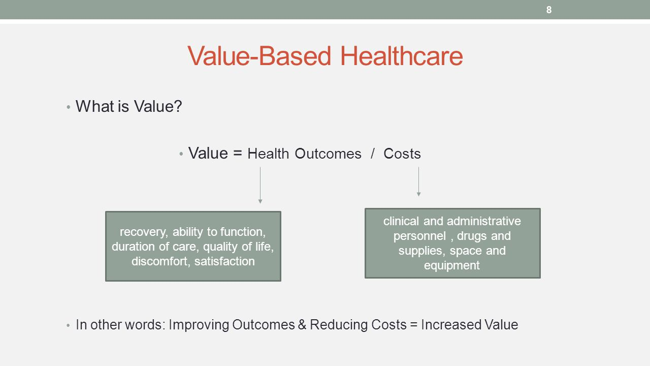 Value-Based Healthcare What is Value.