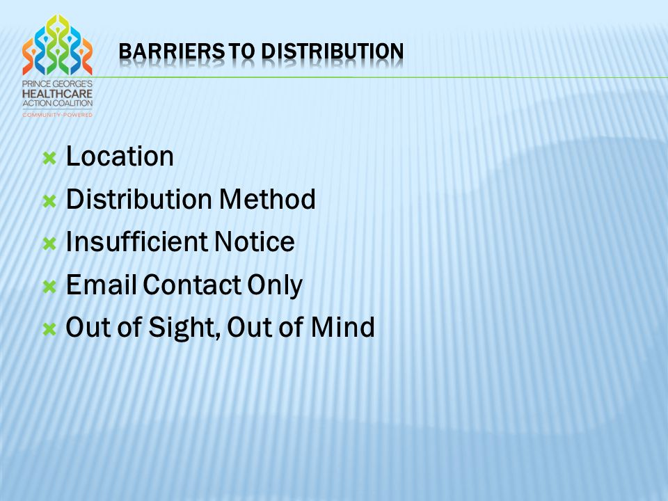  Location  Distribution Method  Insufficient Notice  Email Contact Only  Out of Sight, Out of Mind