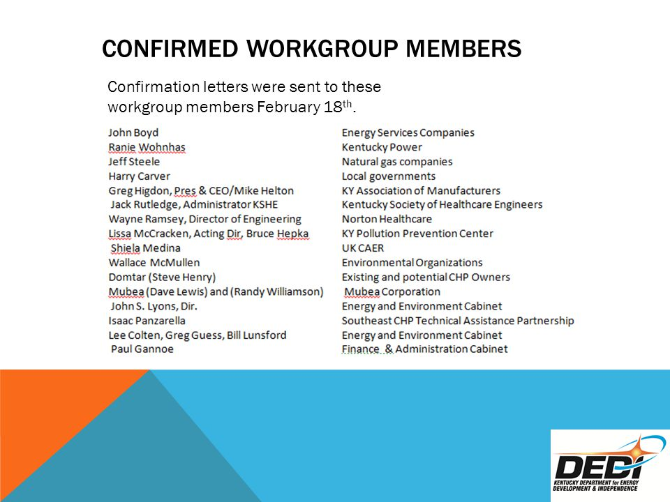CONFIRMED WORKGROUP MEMBERS Confirmation letters were sent to these workgroup members February 18 th.