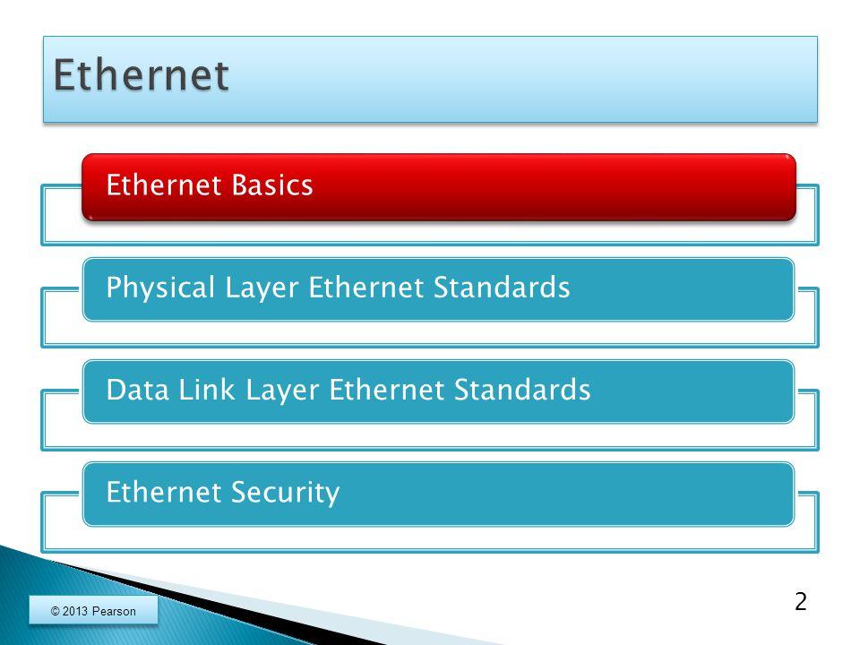 Ethernet BasicsPhysical Layer Ethernet Standards Data Link Layer Ethernet Standards Ethernet Security 43 © 2013 Pearson