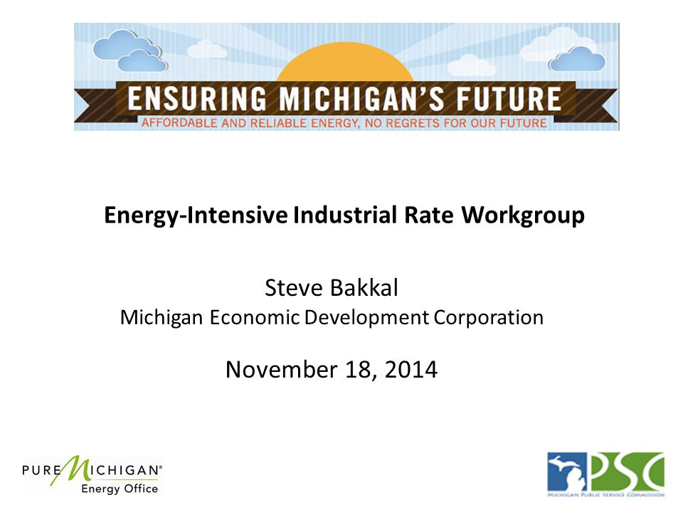 Energy-Intensive Industrial Rate Workgroup Steve Bakkal Michigan Economic Development Corporation November 18, 2014