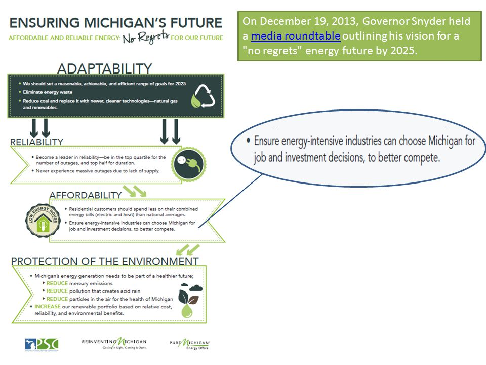 On December 19, 2013, Governor Snyder held a media roundtable outlining his vision for a no regrets energy future by 2025.media roundtable