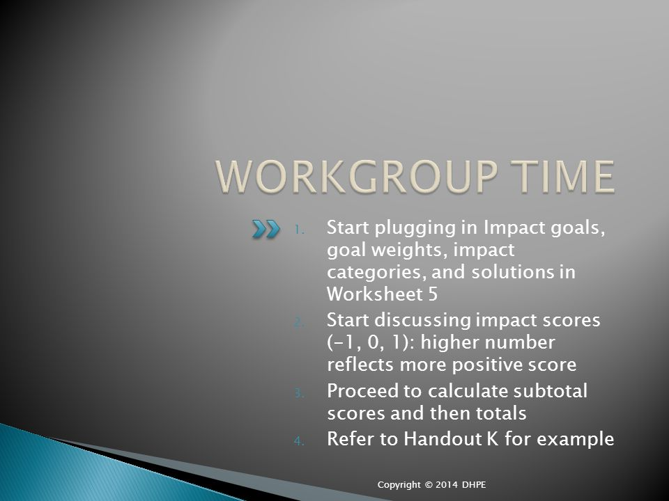 1. Start plugging in Impact goals, goal weights, impact categories, and solutions in Worksheet 5 2.